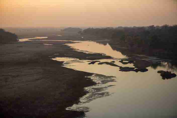 Sunset over save river