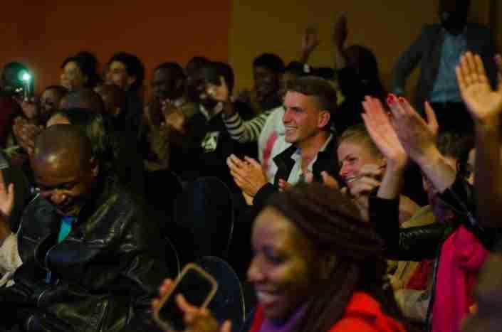 Appreciative crowd at Alliance Francaise, Harare