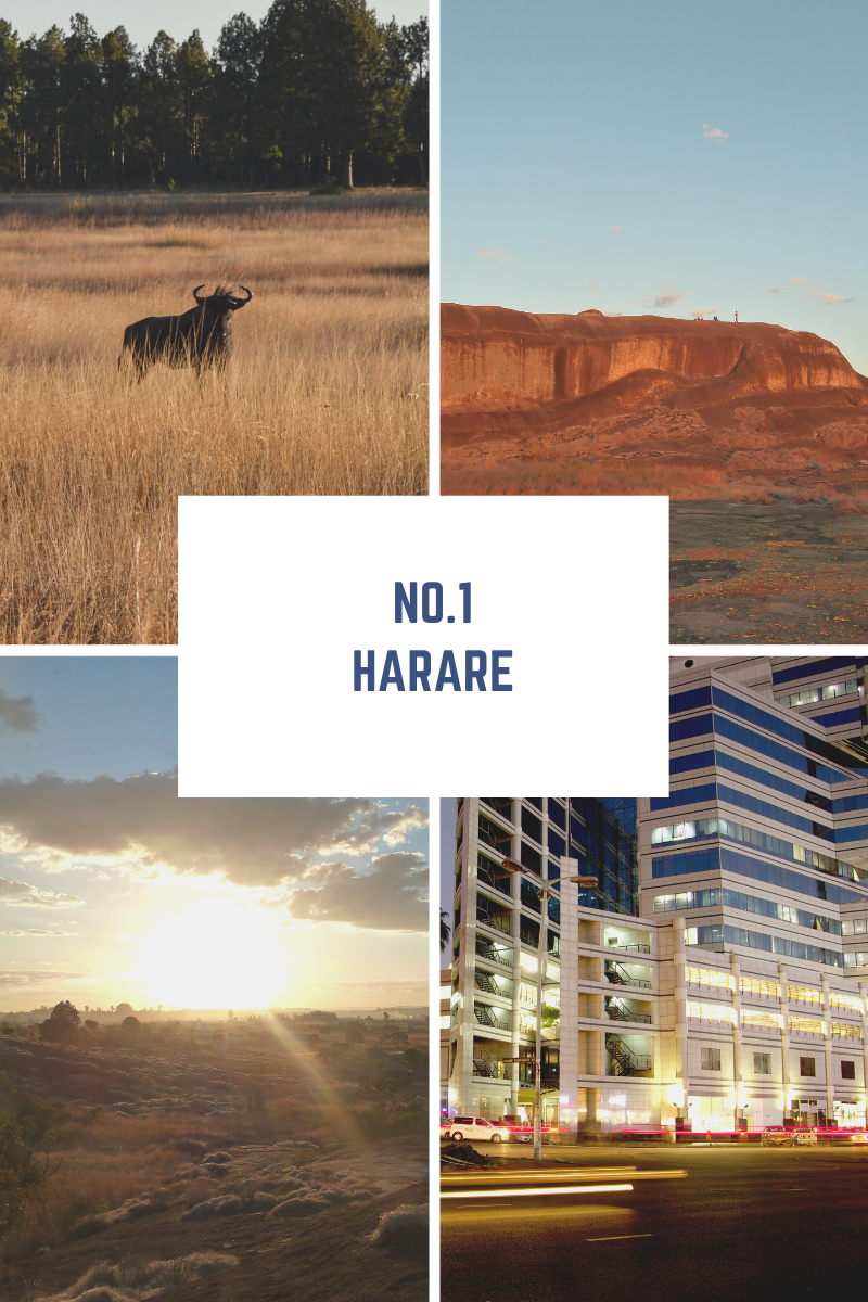 The number 1 Zimbabwean tour and experience, Harare. Photo collage of a wildebeest, domboshawa mountain, the sunset and Harare city at night