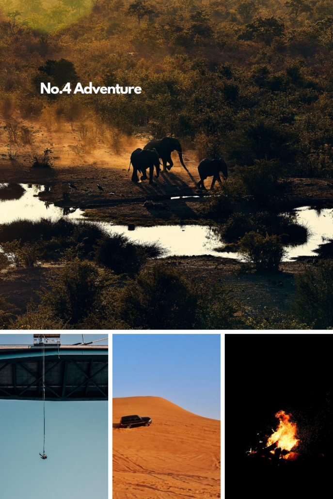 Number 4 best Zimbabwean tour and experience, adventure. Adventure Photo Grid of bungee jumping in Victoria Falls, a campsite fire, elephants in Victoria Falls and 4x4 car hire